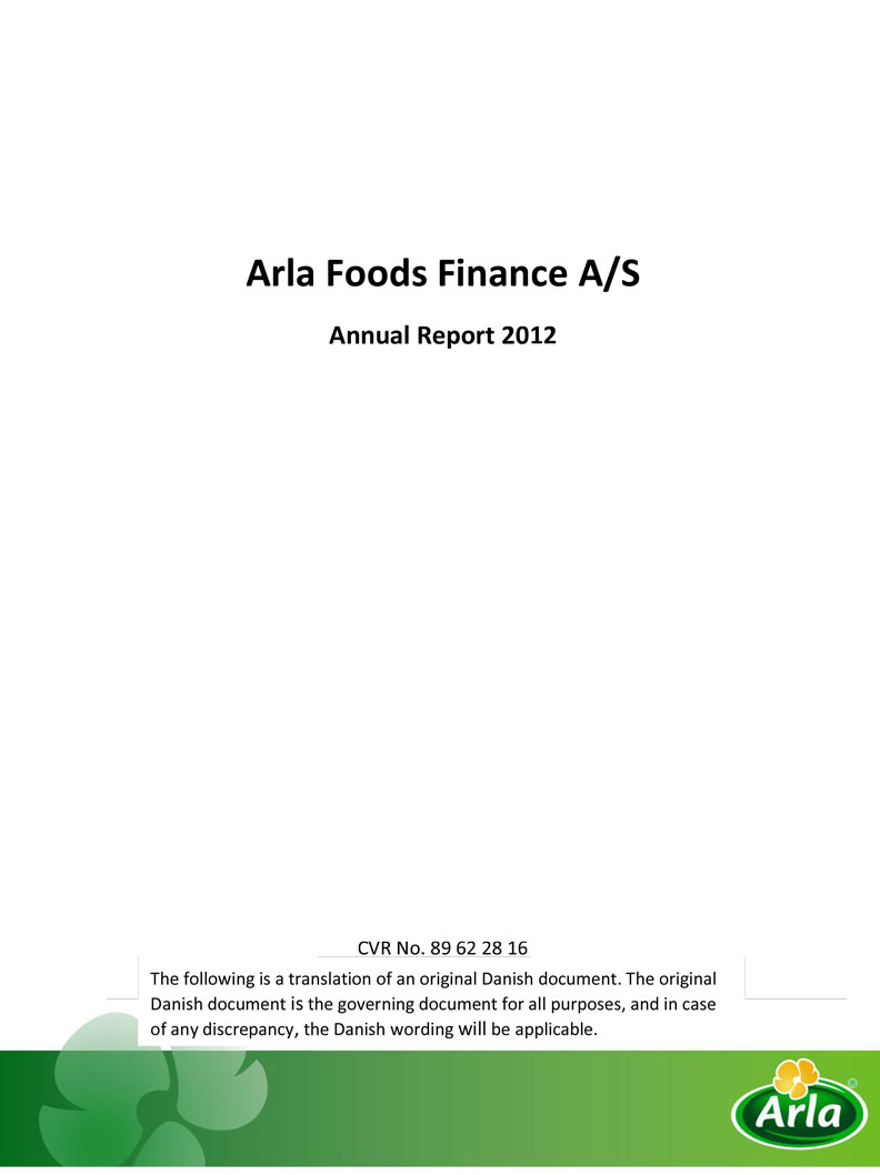 Arla Foods Finance A/S 2012
